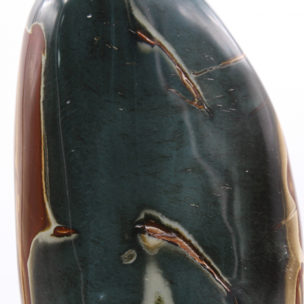 Large polished printed jasper, blue gray and brown